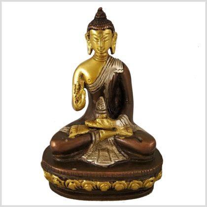 Segnender Buddha Messing Tricoloure 12cm Vorderansicht