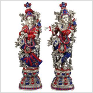 Radha Krishna Messing Silber als Paar blaurote Steine