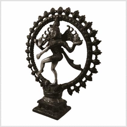 Tanzende Shiva 2,2kg Messing rotgrün Seitenansicht links