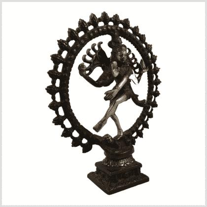 Tanzende Shiva 2,2kg Messing rotgrün Seitenansicht rechts