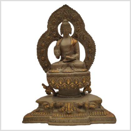 Abhaya Mudra Buddha 2,2kg Messing Graugold 24cm Vorderansicht