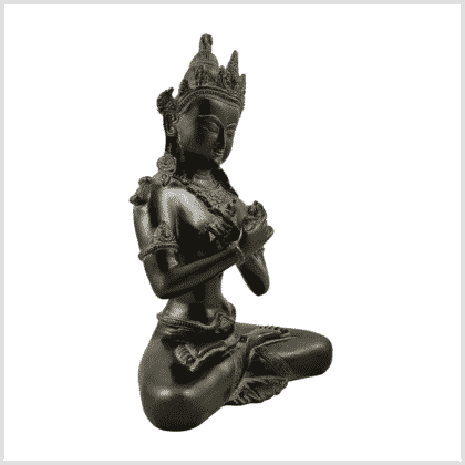 Vajradhara 5,2kg Messing Grünbraun Pattina Seitenansicht rechts