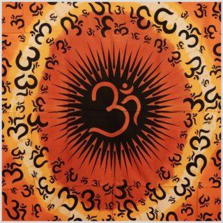 Wandtuch Aum Zeichen Orange Nahansicht