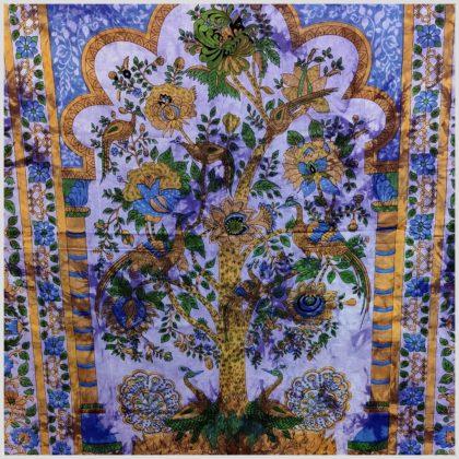 Batik Wandtuch Lebensbaum lila Nahansicht