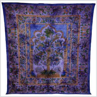 Batik Wandtuch Lebensbaum lila Vollansicht