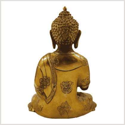 Ashtamangala Buddha Lehrender Buddha 2,8kg graugold hinten
