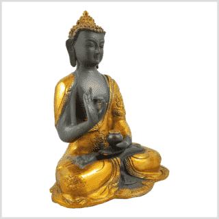 Ashtamangala Buddha Lehrender Buddha 2,8kg graugold Seitenansicht rechts