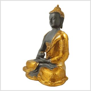 Erleuchteter Buddha Ashtamangala 2,8kg Messing graugold Seitenansicht links
