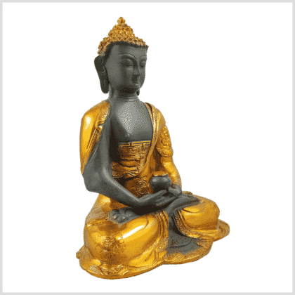 Erleuchteter Buddha Ashtamangala 2,8kg Messing graugold Seitenansicht rechts