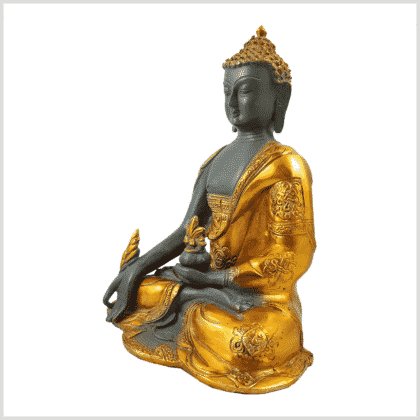 Medizinbuddha 2,8kg graugold Seitenansicht links