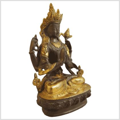 Avalokiteshvara 19cm Messing kaffeebraun Seite rechts