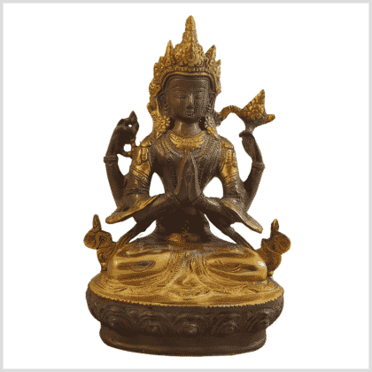 Avalokiteshvara 19cm Messing kaffeebraun Vorderansicht