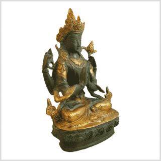 Avalokiteshvara 19cm Messing grüngold Seitenansicht rechts