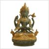 Avalokiteshvara 19cm Messing grüngold Vorderansicht