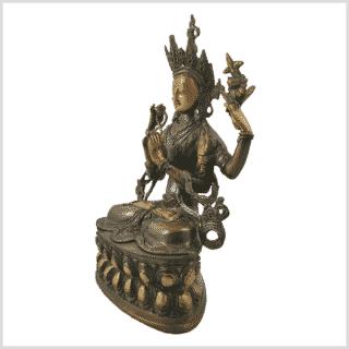 Avalokiteshvara 3,9kg Messing braungrün Seitenansicht links
