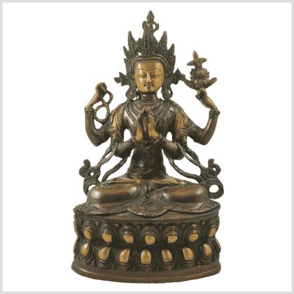 Avalokiteshvara 3,9kg Messing braungrün Vorne