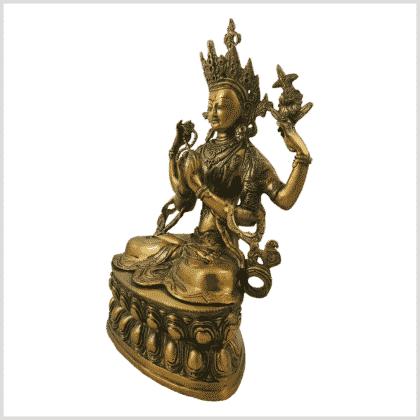 Avalokiteshvara 3,9kg Messing goldgrün Seitenansicht links