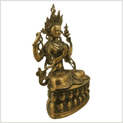 Avalokiteshvara 3,9kg Messing goldgrün Seitenansicht rechts