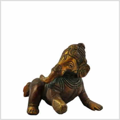 Baby Ganesha 12cm braungrün Seitenansicht