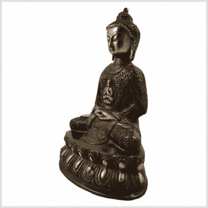 Erleuchtungsbuddha 23,5cm rotgrün Seitenansicht links