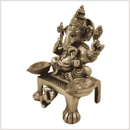 Ganesha Öllampe Messing 1,1kg 13,8cm Messing Seite links