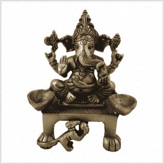 Ganesha Öllampe Messing 1,1kg 13,8cm Messing vorne