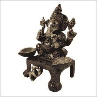 Ganesha Öllampe Kerzenhalter 1,1kg Messing rotgold Seite links