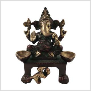 Ganesha Öllampe Kerzenhalter 1,1kg Messing rotgold Vorderansicht