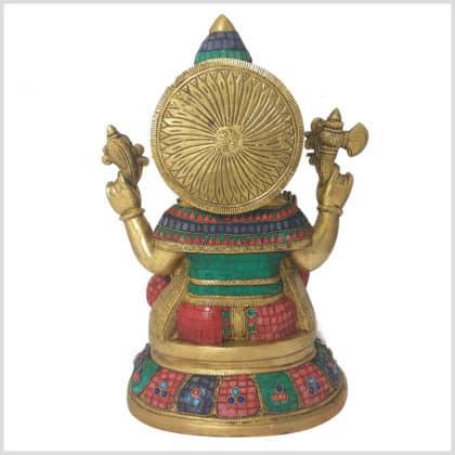Ganesha Steinarbeit Messing 40cm Seitenansicht Rücken