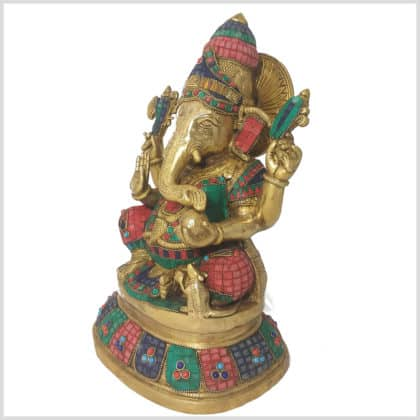 Ganesha Steinarbeit Messing 40cm Seitenansicht links