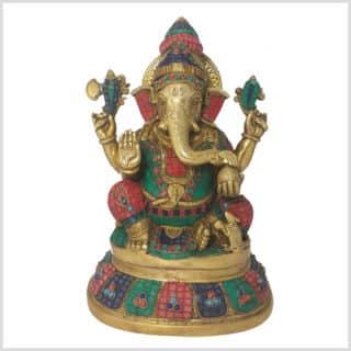 Ganesha Steinarbeit Messing 40cm Seitenansicht Vorderansicht