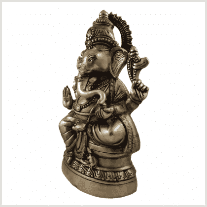 Ganesha 14kg 52cm Messing Seitenansicht links