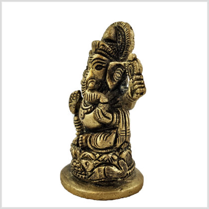 Ganesha 8cm Messing Seitenansicht links