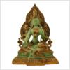Grüne Tara auf Podest 24cm Messing mintgrün Vorderansicht