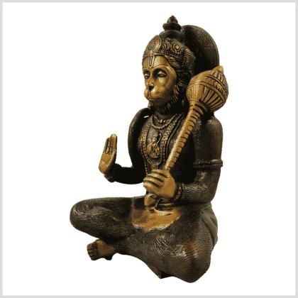 Hanuman 29cm 5kg Messing braungrün Seitenansicht links