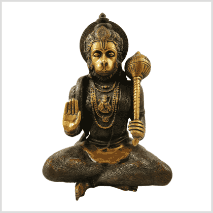 Hanuman 29cm 5kg Messing braungrün Vorderansicht