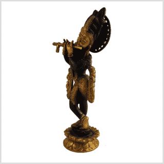 Krishna mit Flöte 30cm 2,2kg Messing braungold Seite links