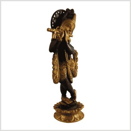 Krishna mit Flöte 30cm 2,2kg Messing braungold Seite rechts