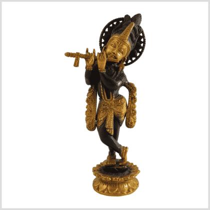 Krishna mit Flöte 30cm 2,2kg Messing braungold Vorderansicht