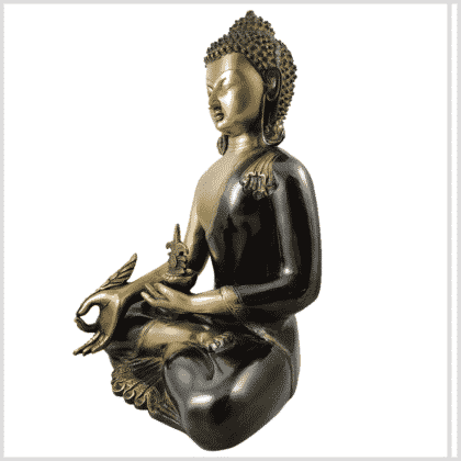 Medizinbuddha Kundal 51cm antikgrün Seitenansicht links