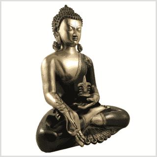 Medizinbuddha Kundal 51cm antikgrün Seitenansicht rechts