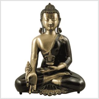 Medizinbuddha Kundal 51cm antikgrün Vorderansicht