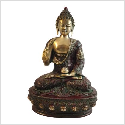 Lehrende Buddha Vitarka Mudra Lifebuddha 33cm rotgold Vorderansicht