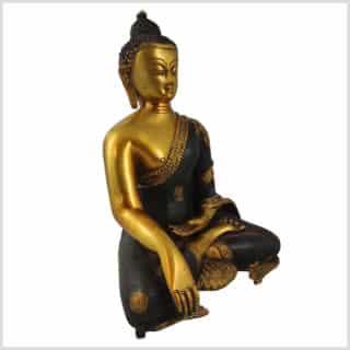 Erdender Buddha 7kg Messing braungold Seitenansicht rechts