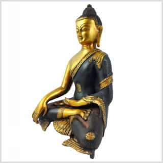 Erdender Buddha 7kg Messing braungold Seitenansicht links