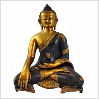 Erdender Buddha 7kg Messing braungold Vorderansicht