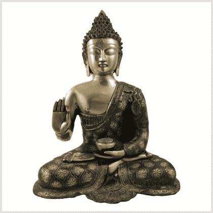 Lehrender Buddha 9,6kg Messing grüngold