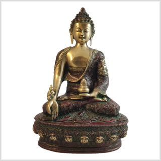 Medizinbuddha 33cm Lifebuddha rotgrün Vorderansicht