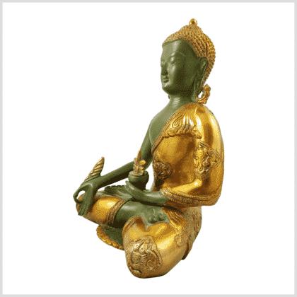 Medizinbuddha 5,6kg grüngold antik Seitenansicht links