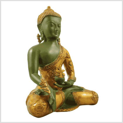 Medizinbuddha 5,6kg grüngold antik Seitenansicht rechts